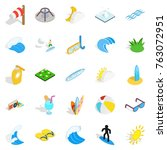 water fun icons set. isometric... | Shutterstock .eps vector #763072951