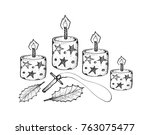 four christmas candles with... | Shutterstock .eps vector #763075477