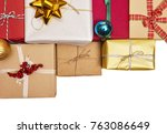 a lot of holiday gift box | Shutterstock . vector #763086649