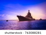a warship sails to the sea.... | Shutterstock . vector #763088281