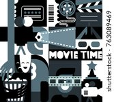 vector black and white movie... | Shutterstock .eps vector #763089469