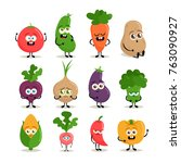 funny cartoon characters. cute... | Shutterstock .eps vector #763090927