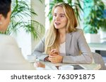 portrait of two modern young... | Shutterstock . vector #763091875