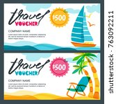 vector gift travel voucher... | Shutterstock .eps vector #763092211
