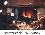 warm cozy fireplace with real... | Shutterstock . vector #763093567