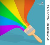 flat design raibow  brush with... | Shutterstock .eps vector #763094761