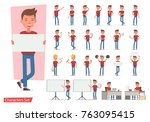 set of office man worker... | Shutterstock .eps vector #763095415