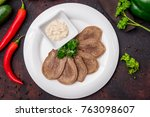 sliced beef tongue | Shutterstock . vector #763098607