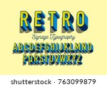 retro 3 dimension typography... | Shutterstock .eps vector #763099879