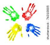 handprints in different colors... | Shutterstock . vector #76310005