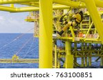 working at height. a commercial ... | Shutterstock . vector #763100851