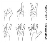 counting  hands  0 to 5 ... | Shutterstock .eps vector #763100857