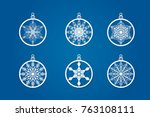 vector christmas balls set with ... | Shutterstock .eps vector #763108111