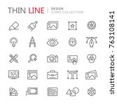 collection of design thin line... | Shutterstock .eps vector #763108141