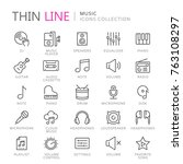collection of musical thin line ... | Shutterstock .eps vector #763108297