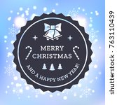 christmas card with vintage... | Shutterstock .eps vector #763110439