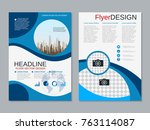 modern business two sided flyer ... | Shutterstock .eps vector #763114087