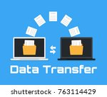 two laptops transferred... | Shutterstock .eps vector #763114429