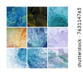 set of low poly mosaic... | Shutterstock .eps vector #763114765