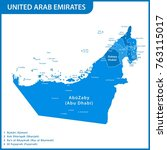 the detailed map of the uae... | Shutterstock .eps vector #763115017
