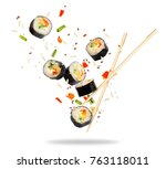 pieces of sushi frozen in the... | Shutterstock . vector #763118011