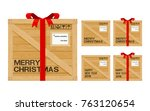 isolated wooden gift box with... | Shutterstock .eps vector #763120654