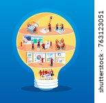 team work with light bulb | Shutterstock .eps vector #763123051