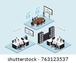 isometric 3d illustration set... | Shutterstock .eps vector #763123537