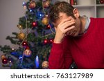 man felling depressed and...   Shutterstock . vector #763127989