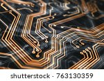 3d rendering. circuit board... | Shutterstock . vector #763130359