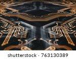3d rendering. circuit board... | Shutterstock . vector #763130389