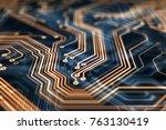 3d rendering. circuit board... | Shutterstock . vector #763130419