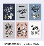 vector christmas greeting cards ...   Shutterstock .eps vector #763134037