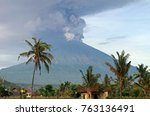 eruption of mt. agung volcano... | Shutterstock . vector #763136491