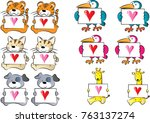 cute animals holding a card... | Shutterstock .eps vector #763137274