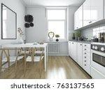 3d rendering scandinavian... | Shutterstock . vector #763137565