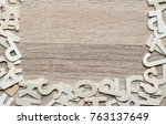 top view wooden alphabet study... | Shutterstock . vector #763137649