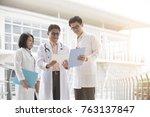 asian medical team outdoor | Shutterstock . vector #763137847