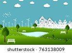 eco green city.save the world... | Shutterstock .eps vector #763138009