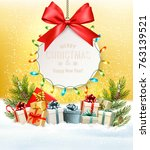 christmas presents with a gift... | Shutterstock .eps vector #763139521