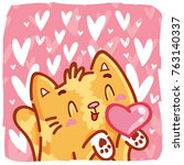 cute ginger cat character in...   Shutterstock .eps vector #763140337