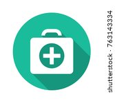 first aid kit vector flat icon. | Shutterstock .eps vector #763143334