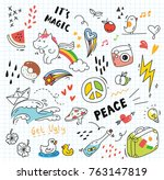 set of colorful doodle on paper ... | Shutterstock .eps vector #763147819