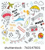 set of colorful doodle on paper ... | Shutterstock .eps vector #763147831
