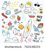 set of colorful doodle on paper ... | Shutterstock .eps vector #763148251