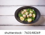 ivy gourd soup with pork on... | Shutterstock . vector #763148269