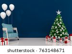 christmas interior modern... | Shutterstock . vector #763148671