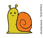 cartoon cute snail character | Shutterstock .eps vector #763149421