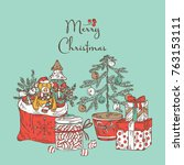 christmas and new year card... | Shutterstock .eps vector #763153111