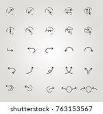 set of arrow icons  fine lines  ... | Shutterstock .eps vector #763153567